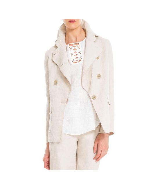 Max Studio - White Cotton And Linen Doubleweave Jacket - Lyst