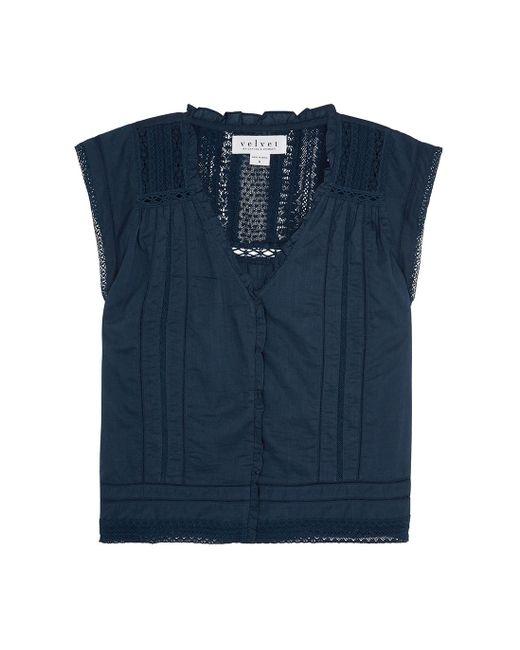 Velvet By Graham & Spencer Blue Skye Navy Lace-trimmed Cotton Top