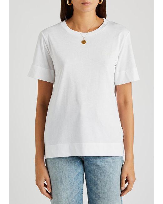 Ganni White Logo Jersey Top