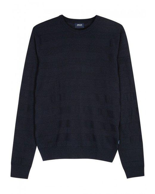 Armani Jeans | Blue Navy Striped Fine-knit Wool Blend Jumper | Lyst