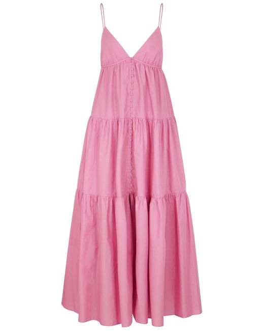 Matteau Purple The Triangle Tiered Cotton Maxi Dress
