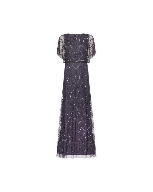 Adrianna Papell Gray Bead Blouson Dress