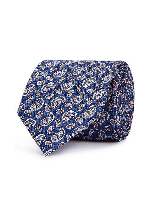 Eton of Sweden Blue Navy Paisley Jacquard Silk Tie for men