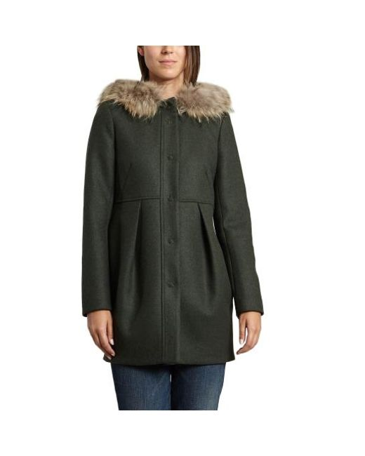 2727e87ed6 Tara Jarmon Fur Trim Coat in Green - Lyst