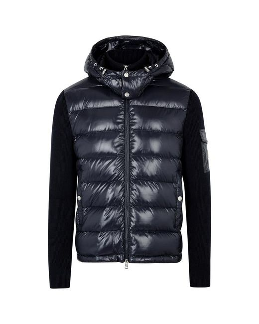 Moncler - Blue Navy Wool And Shell Jacket for Men - Lyst