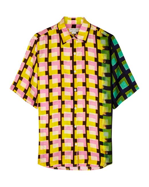 Dries Van Noten Yellow Clavelly Printed Satin-twill Shirt
