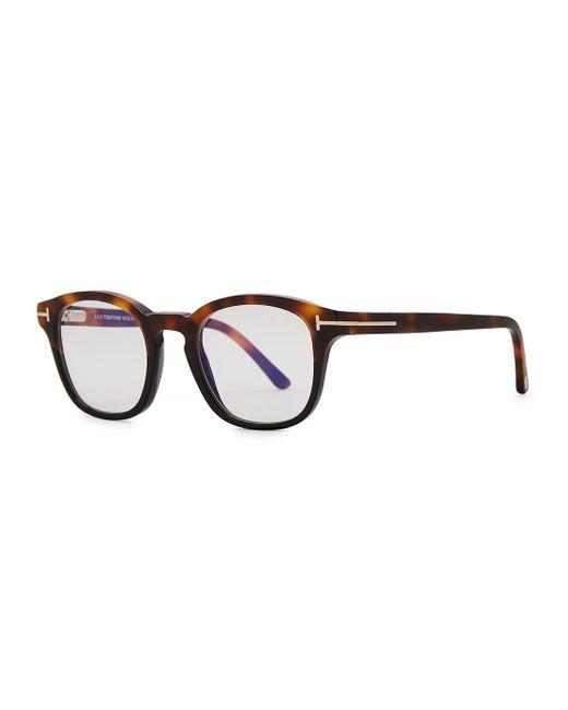 Tom Ford Brown Tortoiseshell Round-frame Optical Glasses for men