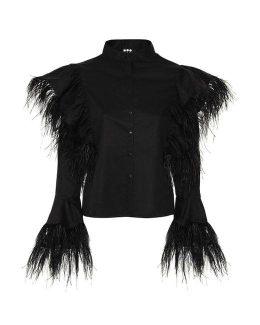 Boo Pala London Black Mei Feathers Shirt