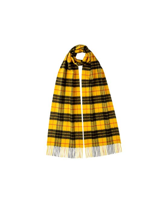 Johnstons Yellow Macleod Of Lewis Tartan Classic Cashmere Scarf for men