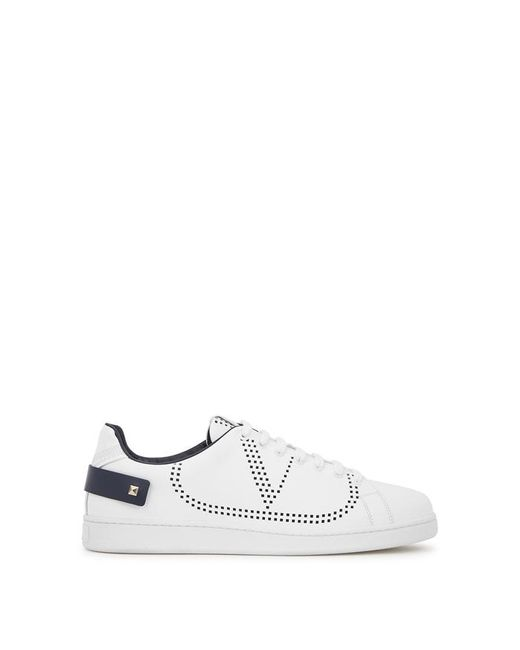 Valentino White Perforated Low-top Leather Trainers for men