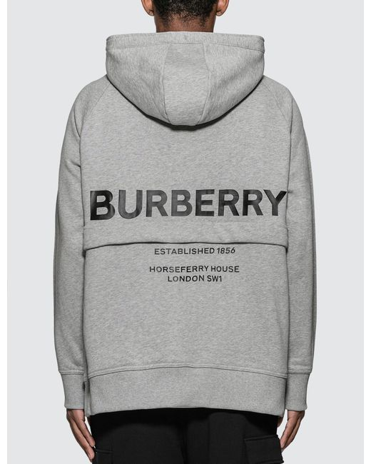 Burberry Gray Horseferry Print Cotton Hoodie for men