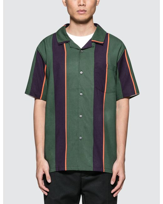Stussy - Green Big Stripe Shirt for Men - Lyst