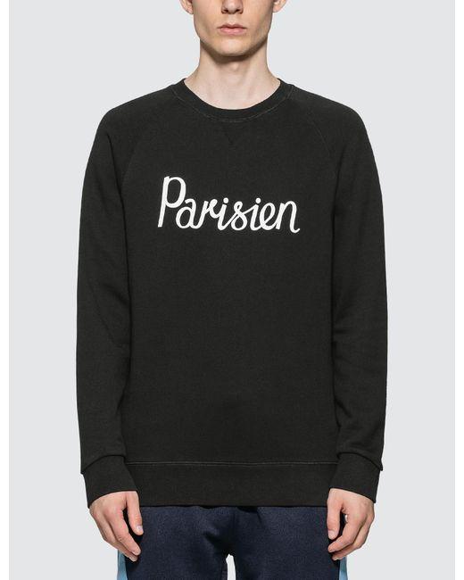 Maison Kitsuné Black Parisien Crewneck Sweatshirt for men