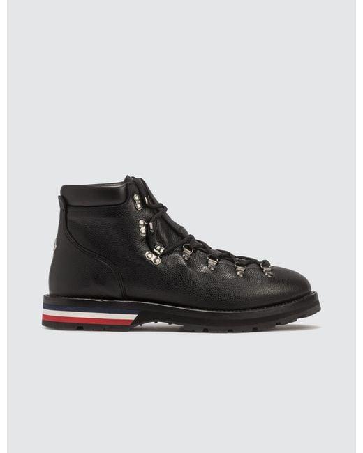 Moncler Black Leather Hiking Boots for men