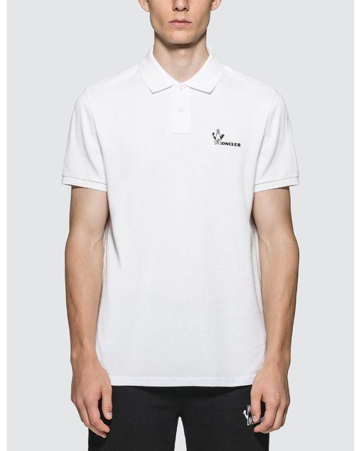 Moncler White Logo Polo for men