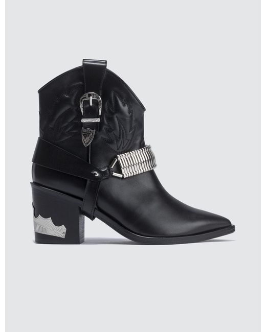 Toga Western Ankle Boots In Black Leather