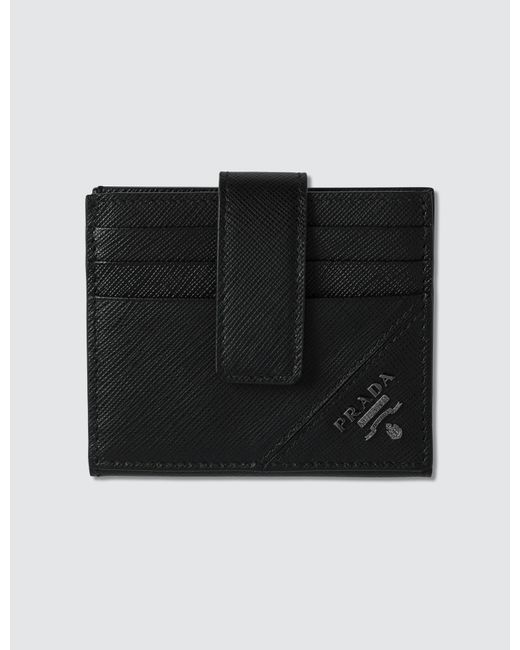 b8ed8a97c202 Prada - Black Logo Credit Card Holder for Men - Lyst ...