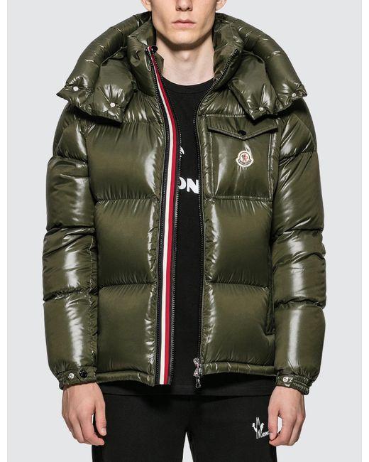 Moncler Green Nylon Down Jacket With Stripe Zip Detail for men