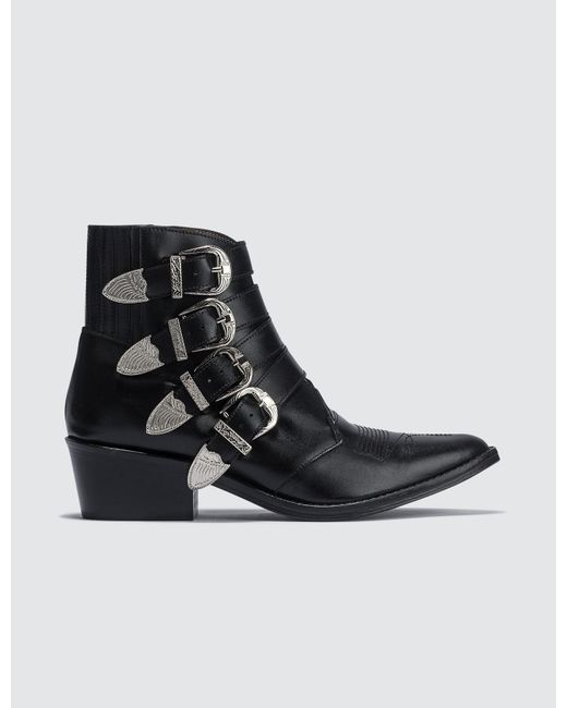 Toga Black Buckle Ankle Boots