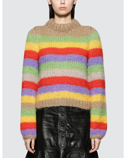 fde0f8c801fd8 Ganni - Multicolor Julliard Striped Mohair And Wool Blend Sweater - Lyst ...