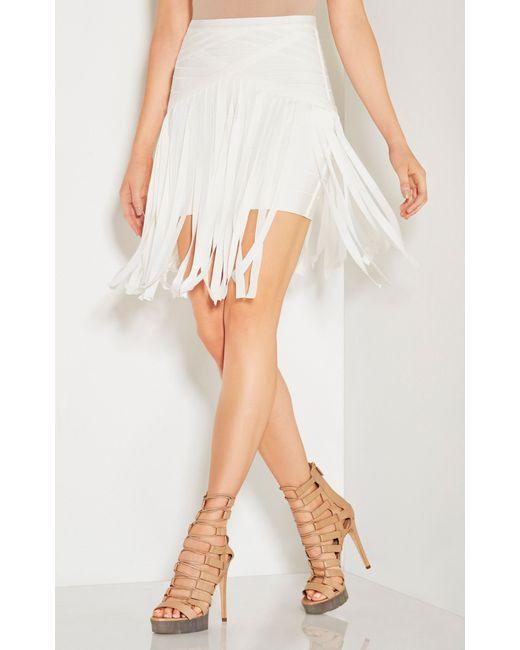 Hervé Léger | White Bandage Detail Skirt | Lyst