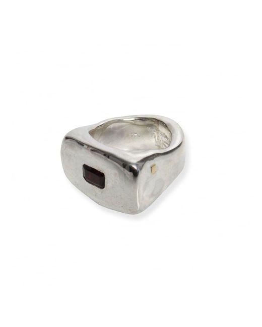 Rosa Maria - Metallic Solid Garnet Stone Ring Silver - Lyst