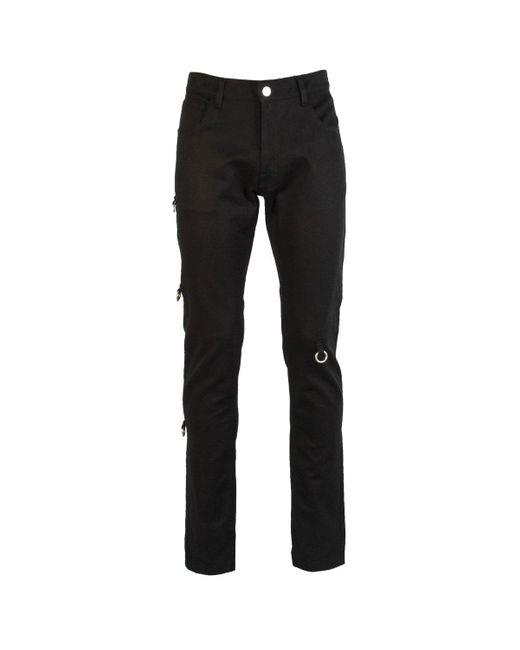 Raf Simons Black Slim Fit Denim Trousers With Ring Detail for men