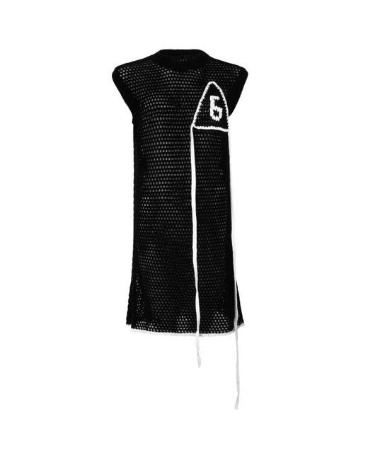MM6 by Maison Martin Margiela Sleeveless Mesh Knitted Dress Black