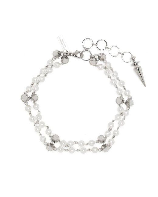 Junya Watanabe Metallic Spike Stud Faux Pearl Choker Necklace