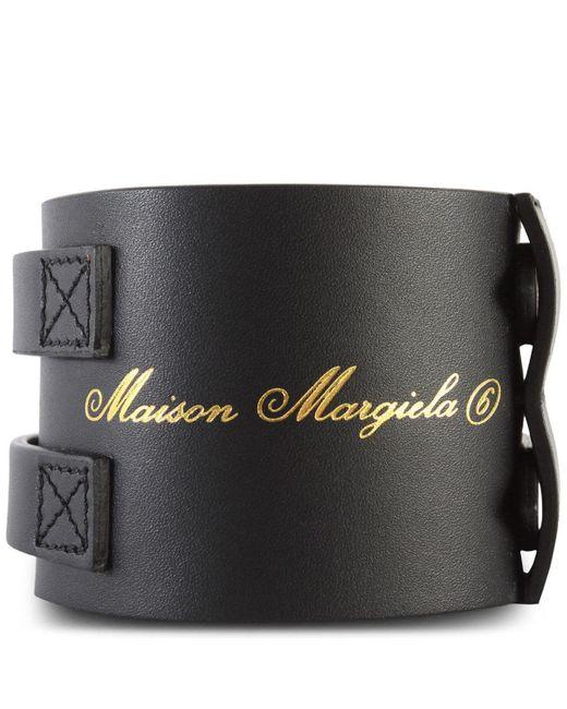 MM6 by Maison Martin Margiela Leather Bracelet Black