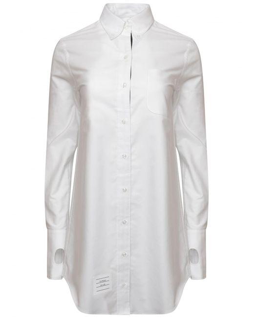 Thom browne oxford shirt dress white in white lyst for Thom browne white shirt