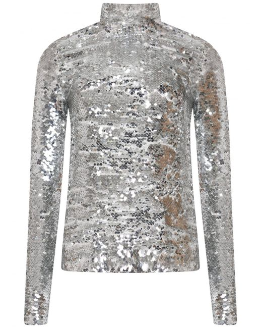 Msgm Turtle Neck Sequin Top Silver in Metallic