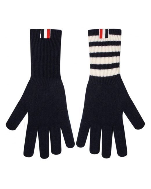 Thom Browne | Blue Bar Stripe Cashmere Gloves Navy | Lyst