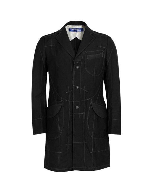 Junya Watanabe Black Wool Blend Stitch Detail Coat for men
