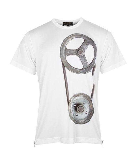 Comme des Garçons White Side Zip Graphic Print T-shirt for men