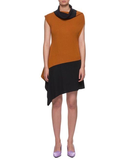 Issey Miyake Orange Flat Rib Knit Dress