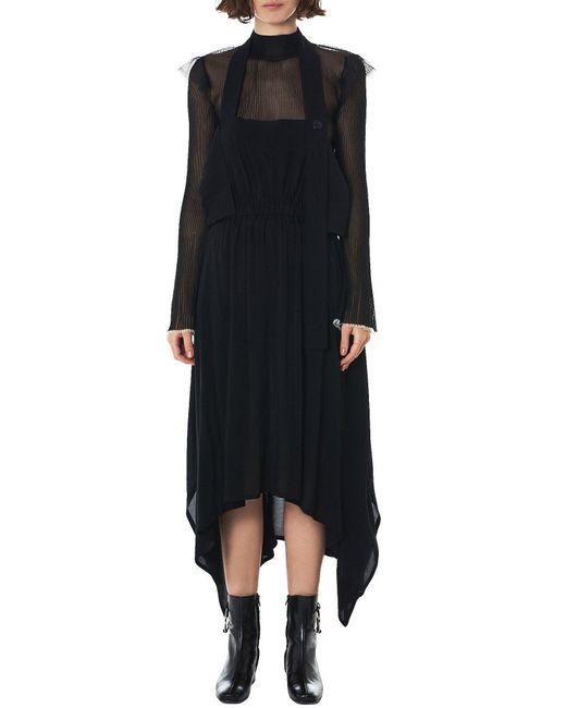 NOCTURNE#22 - Black Adjustable Handkerchief Hem Dress - Lyst