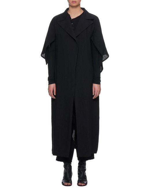 Yohji Yamamoto Black Short-sleeve Duster Coat