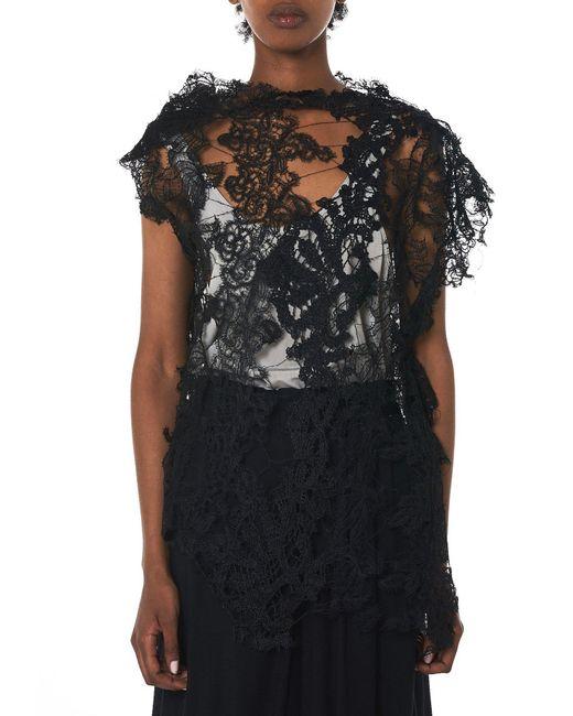 Alessandra Marchi Black Needle Lace Overlay