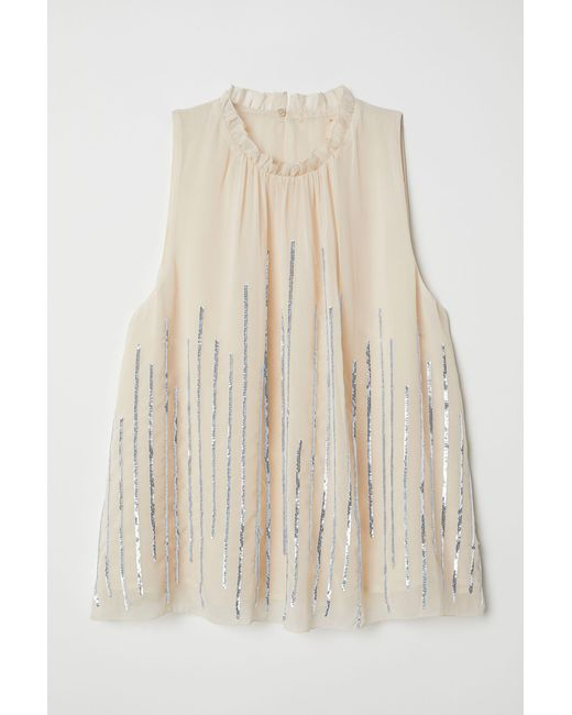 H&M Natural Blouse With Sequins