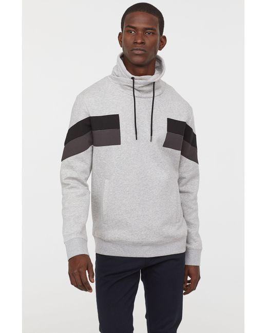Lyst H M Chimney Collar Sweatshirt In Gray For Men