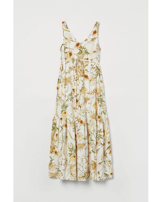 H&M White MAMA Kleid mit V-Ausschnitt