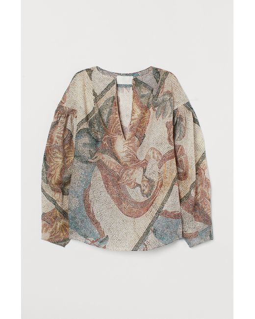H&M Natural Mosaic-patterned Blouse