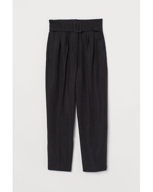 Pantalon 7/8 avec ceinture H&M en coloris Black