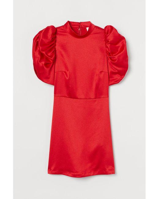 H&M Red Satinkleid mit Puffärmeln