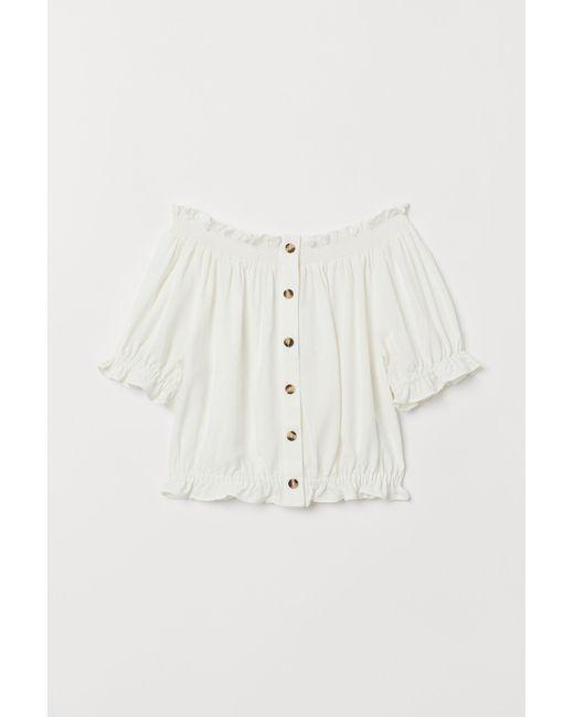 H&M White Schulterfreie Bluse