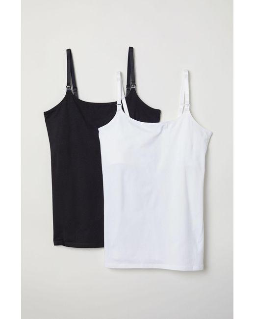 H&M White MAMA 2er-Pack Stilltops