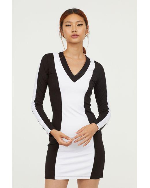 H&M - Black V-neck Jersey Dress - Lyst