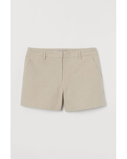 H&M Natural Tailored Twill Shorts
