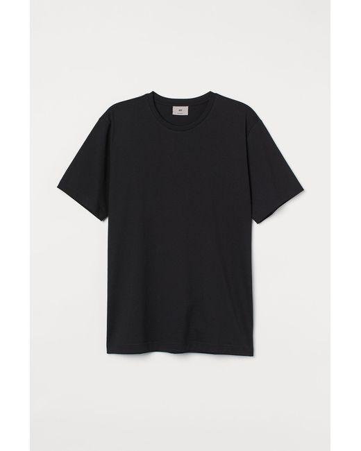 H&M T-Shirt aus Premium Cotton in Black für Herren